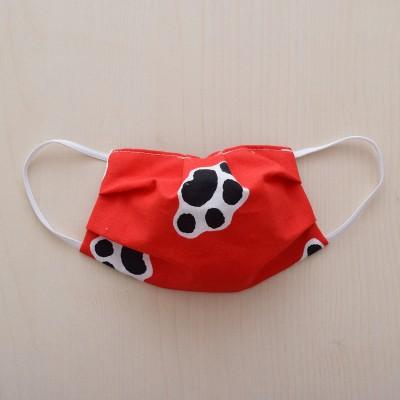 Mund-und Nasen-Maske Kinder Behelfs-Mundschutz 2lagig rot mit Hundepfoten