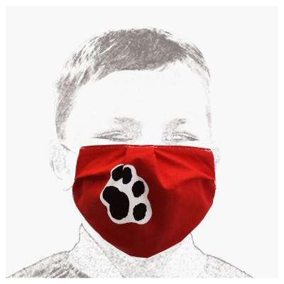 Mund-und Nasen-Maske Kinder Behelfs-Mundschutz 2lagig rot mit Hundepfoten Beispiel
