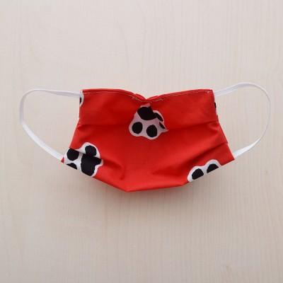 Mund-und Nasen-Maske Kinder Behelfs-Mundschutz 2lagig rot mit Hundepfoten von Innen