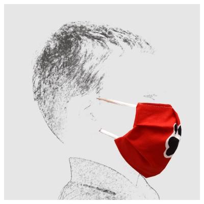 Mund-und Nasen-Maske Kinder Behelfs-Mundschutz 2lagig rot mit Hundepfoten von der Seite