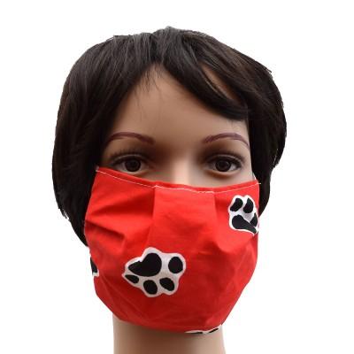 Mund- und Nasen-Maske Universalgröße Behelfs-Mundschutz in Rot mit Hundepfoten Beispiel