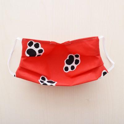 Mund- und Nasen-Maske Universalgröße Behelfs-Mundschutz in Rot mit Hundepfoten von Innen