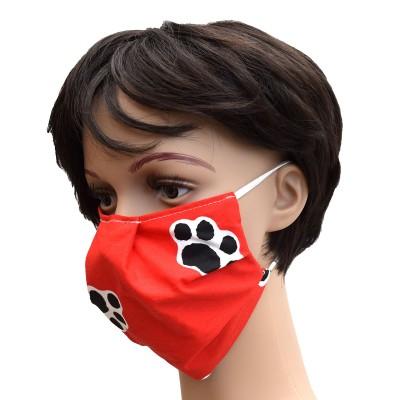 Mund- und Nasen-Maske Universalgröße Behelfs-Mundschutz in Rot mit Hundepfoten von der Seite