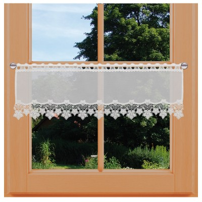 Feenhaus-Spitzengardine Jolanda natur klein am Fenster