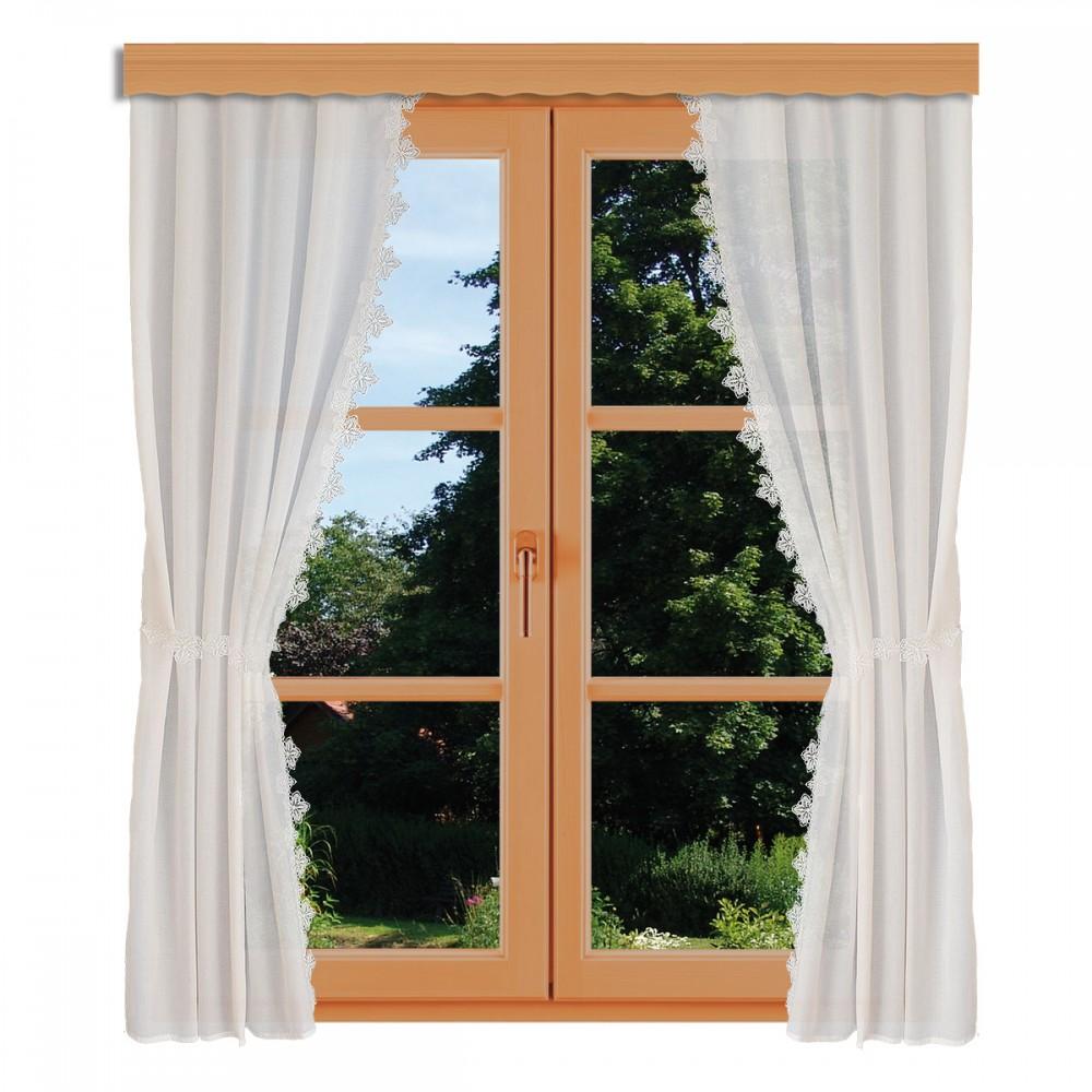 Seitenschalgarnitur Jolanda mit 2 Raffbändern am Fenster