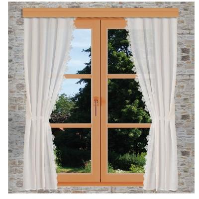 Seitenschalgarnitur Jolanda mit 2 Raffbändern dekoriert am Fenster