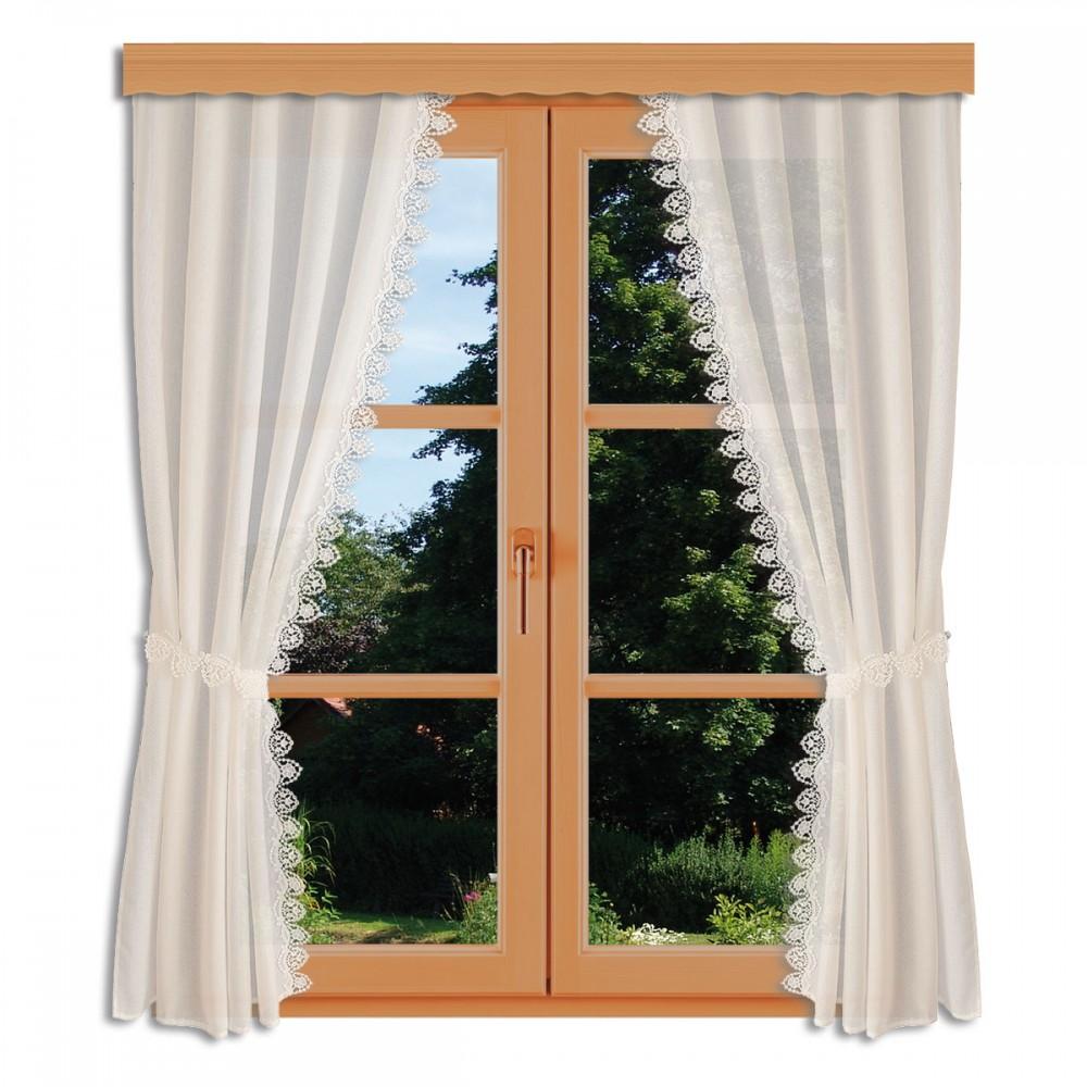 Seitenschalgarnitur Merida mit 2 Raffbändern am Fenster