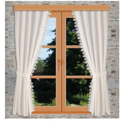 Seitenschalgarnitur Merida mit 2 Raffbändern dekoriert am Fenster