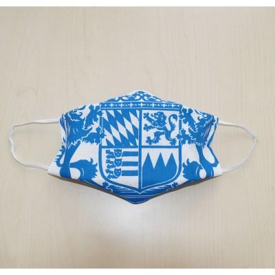 Mund- und Nasen-Maske Universalgröße Behelfs-Mundschutz mit Bayern Wappen blau-weiß