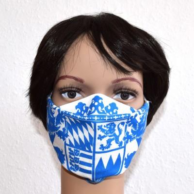 Mund- und Nasen-Maske Universalgröße Behelfs-Mundschutz mit Bayern Wappen blau-weiß getragen