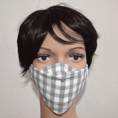 Mund- und Nasen-Maske Universalgröße Behelfs-Mundschutz Grau kariert Beispielbild