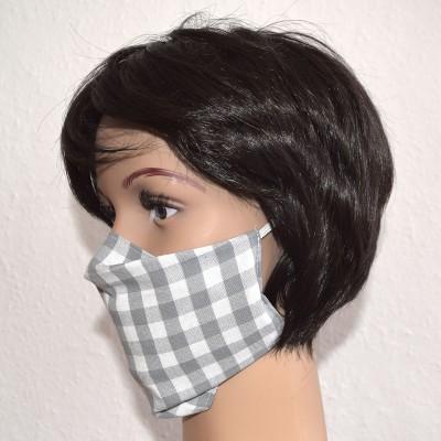 Mund- und Nasen-Maske Universalgröße Behelfs-Mundschutz Grau kariert von der Seite