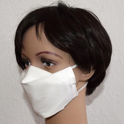 Mund- und Nasen-Maske Universalgröße Behelfs-Mundschutz weiß von der Seite