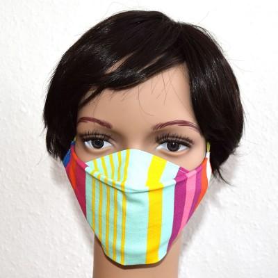 Mund- und Nasen-Maske Universalgröße Behelfs-Mundschutz bunt gestreift Beispiel 1