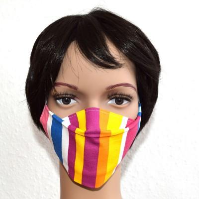 Mund- und Nasen-Maske Universalgröße Behelfs-Mundschutz bunt gestreift Beispiel 2