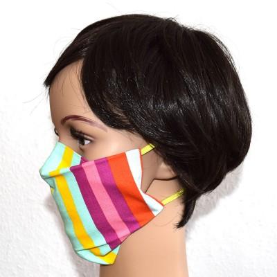 Mund- und Nasen-Maske Universalgröße Behelfs-Mundschutz bunt gestreift 1 von der Seite