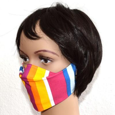 Mund- und Nasen-Maske Universalgröße Behelfs-Mundschutz bunt gestreift 2 von der Seite