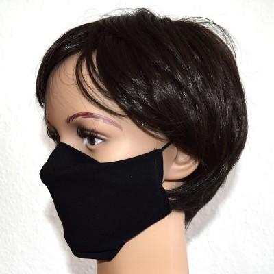 Mund- und Nasen-Maske Universalgröße Behelfs-Mundschutz schwarz von der Seite