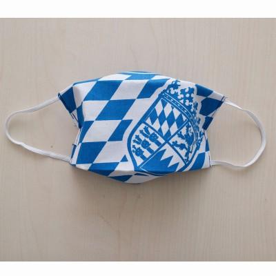 Mund- und Nasen-Maske Jugendmaske Behelfs-Mundschutz mit Bayern Wappen blau-weiß