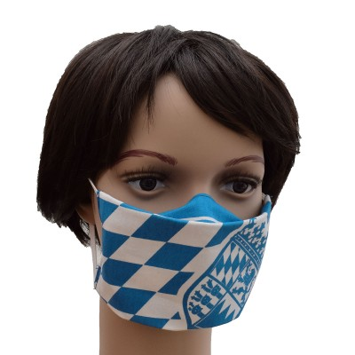 Mund- und Nasen-Maske Jugendmaske Behelfs-Mundschutz mit Bayern Wappen blau-weiß Beispielbild