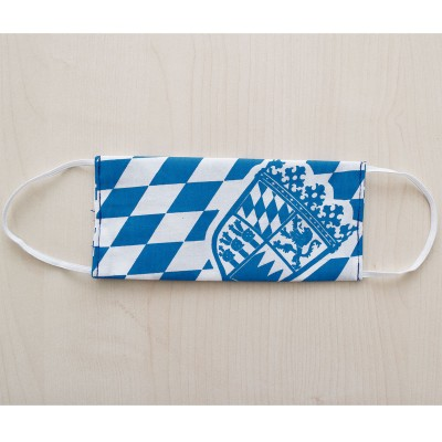 Mund- und Nasen-Maske Jugendmaske Behelfs-Mundschutz mit Bayern Wappen blau-weiß gefaltet