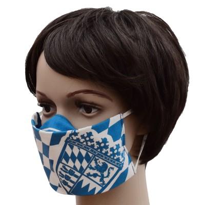 Mund- und Nasen-Maske Jugendmaske Behelfs-Mundschutz mit Bayern Wappen blau-weiß von der Seite