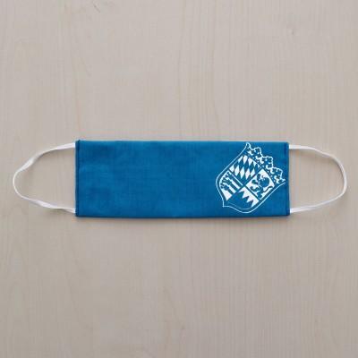 Mund- und Nasen-Maske Universalgröße Behelfs-Mundschutz mit Bayern Wappen blau-weiß gefaltet