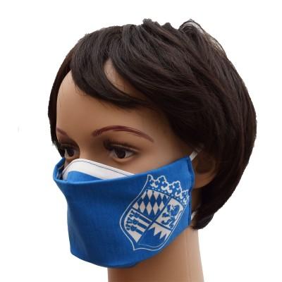 Mund- und Nasen-Maske Universalgröße Behelfs-Mundschutz mit Bayern Wappen blau-weiß von der Seite