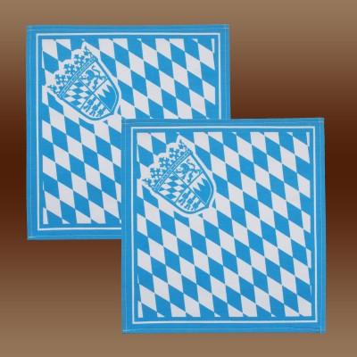 2er Set Serviette mit Bayern-Wappen in blau-weiß