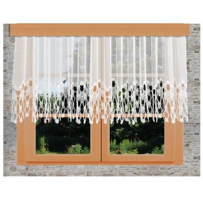 Sockel-Store Samila weiß Blumenfensterstore kurz