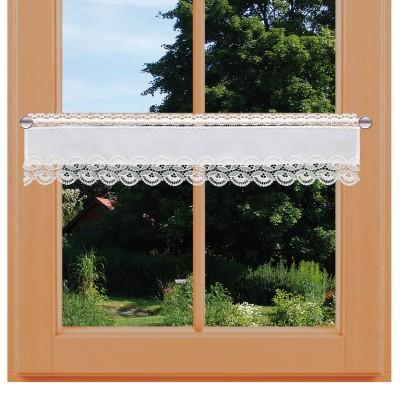Feenhausgardine Hannah weiß mit Plauener Spitze am Fenster