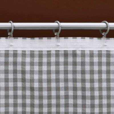 Dekoschal-Set Hannah grau-weiß kariert mit Plauener Spitze Detailbild Reihband