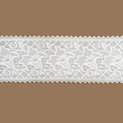 Spitzenband Tischband Blumenmuster weiß Ausschnitt