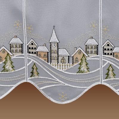 Scheibengardine Winterzauber mit schneebedecktem Dorf Detailbild