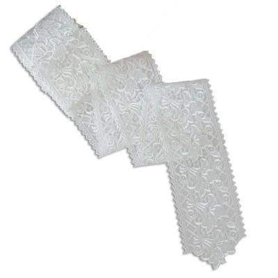 Spitzenband Tischband Blumenmuster weiß Muster
