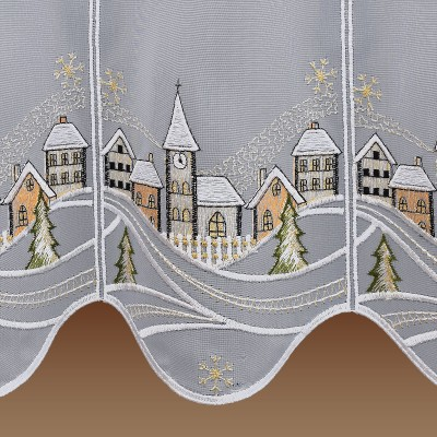 Scheibengardine Winterzauber mit verschneiten Häusern und Kirche