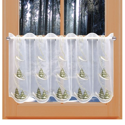 Scheibengardine Wintertannen am Fenster