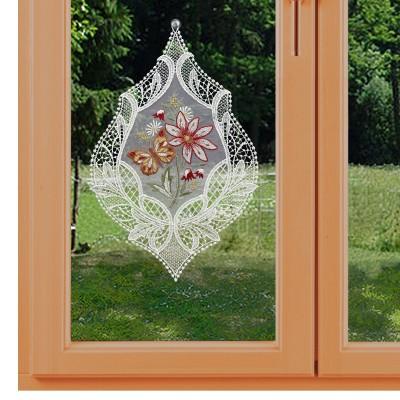 Fensterbild Blütenmotiv und Schmetterling in rot am Fenster dekoriert