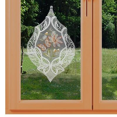 Fensterbild Blütenmotiv und Schmetterling in lachs am Fenster