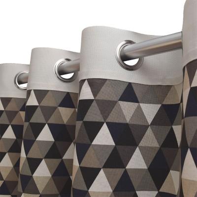 Dekoschal Hedda in Leinenoptik geometrischem Muster Dreiecke Detailbild Ösen