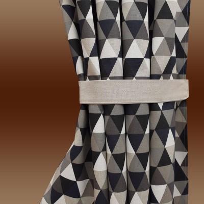 Ösenschal Hedda in Leinenoptik geometrischem Muster Dreiecke mit passendem Raffhalter