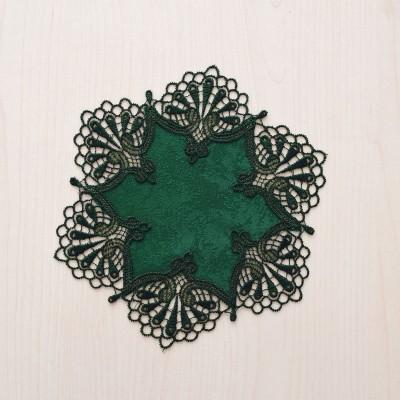 Deckchen Milou rund Echte Plauener Spitze grün 21 cm