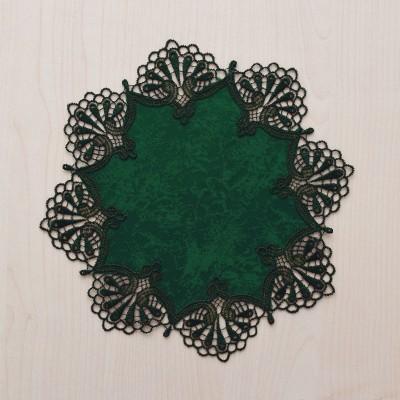 Deckchen Milou rund Echte Plauener Spitze grün 25 cm