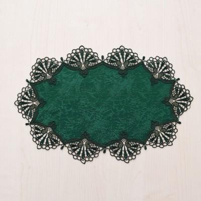 Deckchen Milou oval Echte Plauener Spitze grün 24 x 38 cm