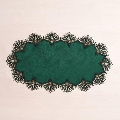 Deckchen Milou oval Echte Plauener Spitze blau 26 x 50 cm