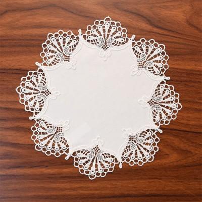 Deckchen Milou rund Echte Plauener Spitze weiß 25 cm