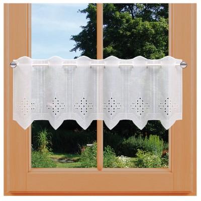 Kurzgardine Irmi Lochstickerei auf weißem Polyesterbatist 30 cm