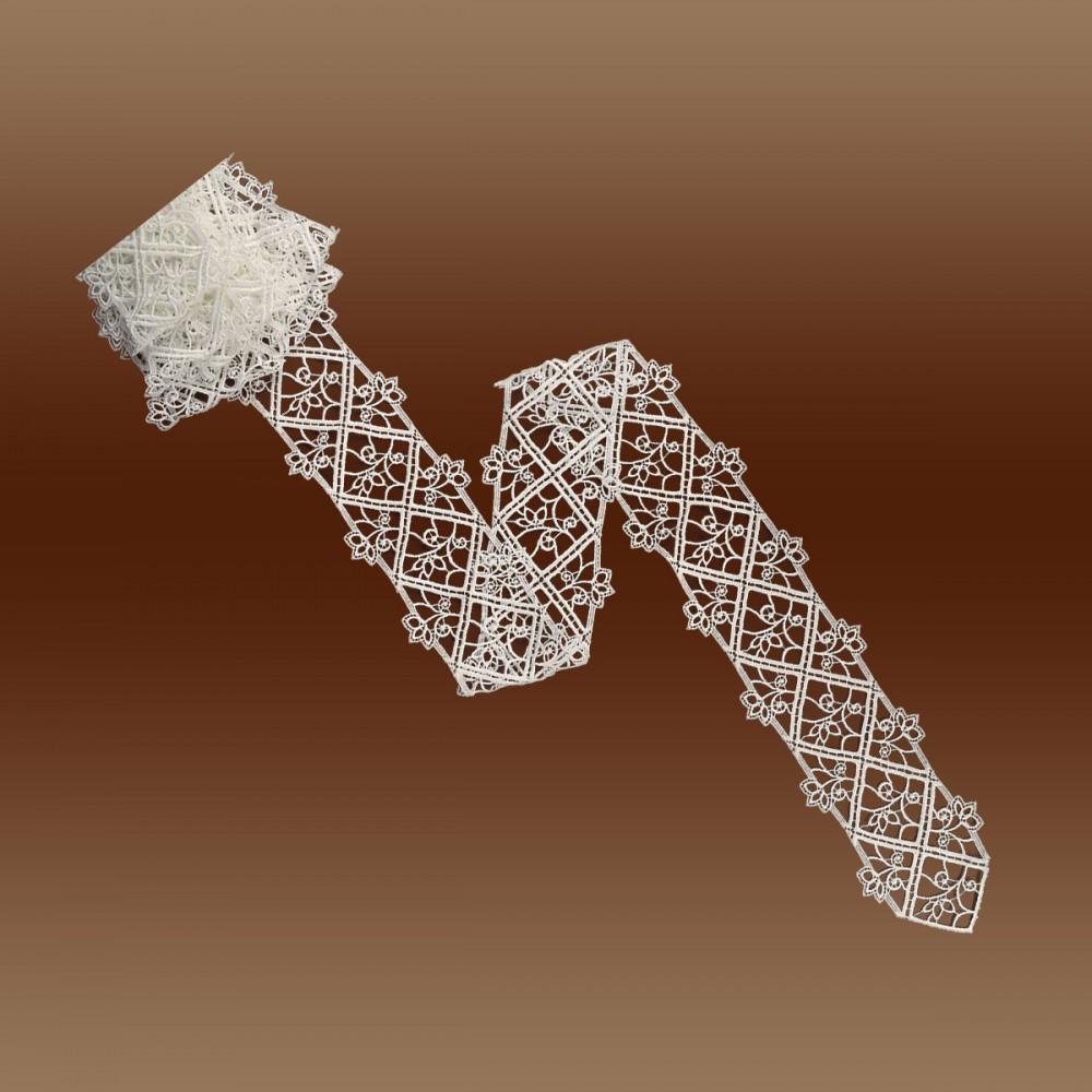 Sptizenband Sissi 10cm breit natur Muster