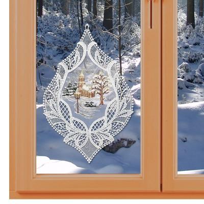 Fensterbild Winterliche Kirche Winter- und Weihnachtszeit Echte Plauener Spitze am Fenster