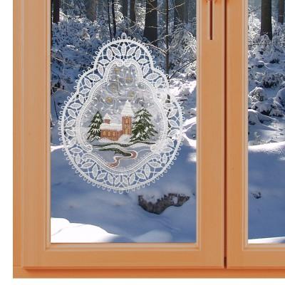 Fensterbild Winterlandschaft Winter- und Weihnachtszeit Echte Plauener Spitze am Fenster